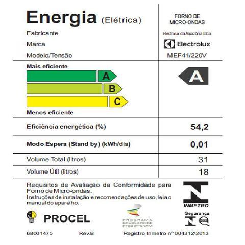 Imagem de Forno de micro-ondas Electrolux Meus Favoritos MEF41 - 31L