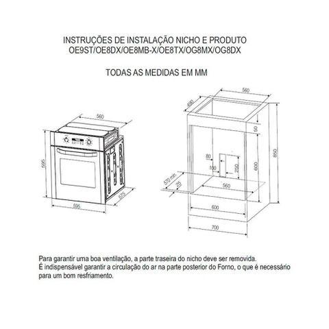 Imagem de Forno Elétrico de Embutir Electrolux Grill Timer OE8DX 80 Litros Inox 220V 53801HBA289