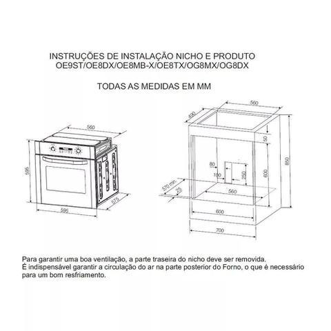 Imagem de Forno Elétrico de Embutir Electrolux OE8MX Inox - 80L - 220V