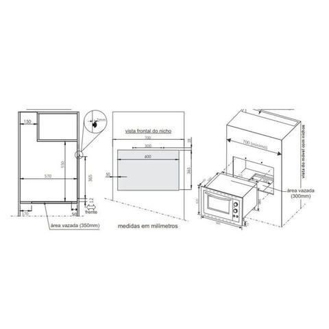 Imagem de Forno Elétrico de Embutir Fischer 44 Litros Fit Line Frontal