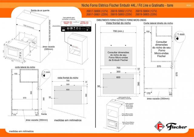 Imagem de Forno Elétrico Fischer Fit Line Embutir 44L Frontal Inox