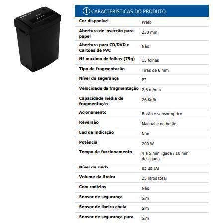 Imagem de Fragmentador Triturador Picador Cortador De Papel 6315A 110v