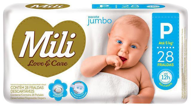 Imagem de Fralda Descartável Mili - Love & Care - Linha Premiun - Tam P 1 Pacotes c/ 28 fraldas