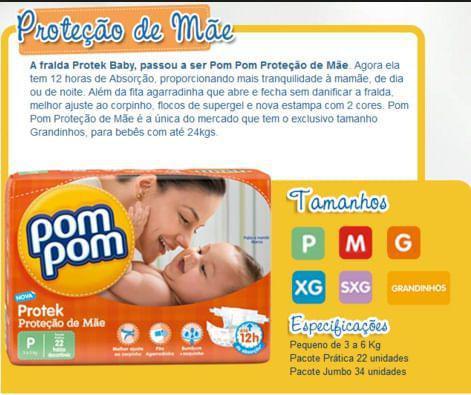 Imagem de Fralda descartável Pom Pom P com 34unid.Proteção de Mãe