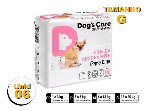 Imagem de Fralda Higiênica P/cães Fêmeas - Dog's Care Tam G - 06 Unid