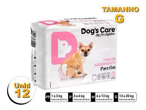 Imagem de Fralda Higiênica P/cães Fêmeas - Dog's Care Tam G - 12 Unid