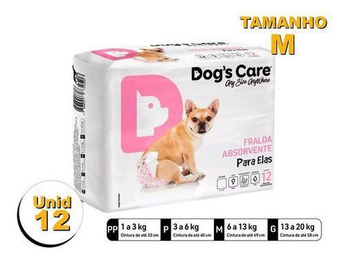 Imagem de Fralda Higiênica P/cães Fêmeas - Dog's Care Tam M - 24 Unid