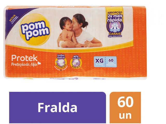 Imagem de Fralda Pom Pom Proteção de Mãe Protek Tam. XG