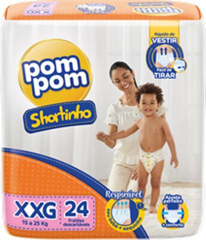 Imagem de Fralda Pom Pom Shortinho Jumbo XXG 15kg A 25kg com 24 unidades - Pompom