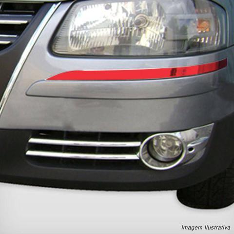 Imagem de Friso Parachoque Grade Dianteira Gol Parati Saveiro G4 2006 a 2012 Aplique Vermelho 2 Peças