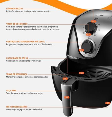 Imagem de Fritadeira Airfryer Eletrica Sem Óleo Panela Grande 4l 1500w