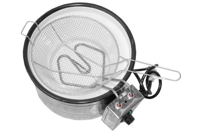 Imagem de Fritadeira Elétrica 3 Litros Inox Tacho Esmaltado Branco 127 V