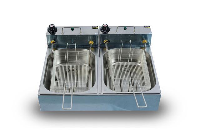 Imagem de Fritadeira Elétrica Industrial 10 Litros 2 Cubas 5 Litros cada 110v 5000w