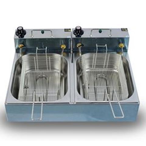 Imagem de Fritadeira Elétrica Industrial 10 Litros 2 Cubas 5 Litros cada 220v 6000w
