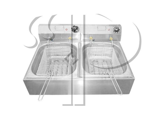 Imagem de Fritadeira Elétrica Industrial 2 Cubas 14 Litros Aço Inox 6000W 220V ou 5000W 110V
