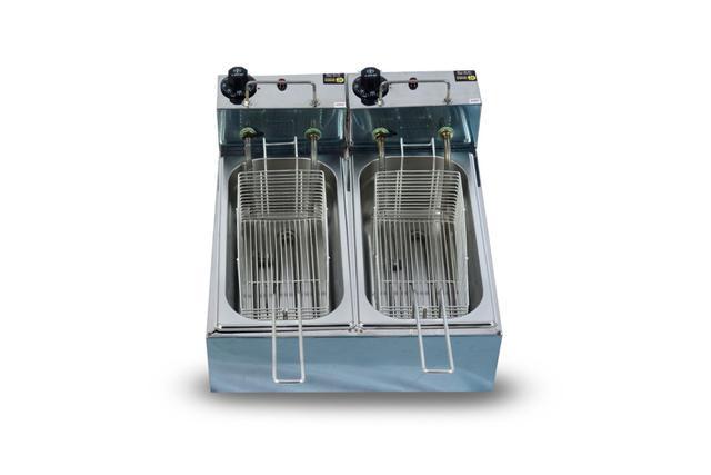 Imagem de Fritadeira Elétrica Industrial 6 Litros 2 Cubas  3 litros cada 110v 5000w