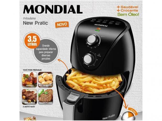 Imagem de Fritadeira Elétrica Mondial Air Fryer New Pratic AF31 Sem Óleo 3,5 Litros - Preto