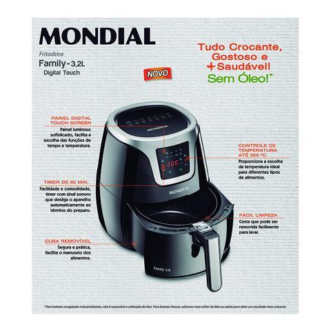 Imagem de Fritadeira Elétrica Sem Óleo AF19 / Air Fryer Mondial - Preta 3,2L Digital Touch, com Timer - 110V