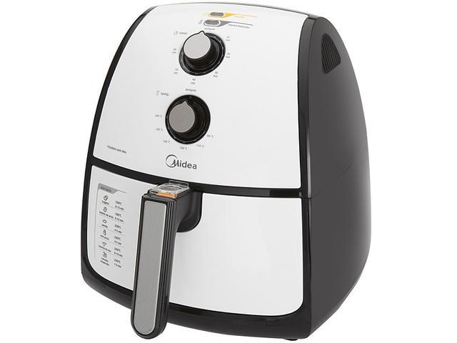 Imagem de Fritadeira Elétrica Sem Óleo Air Fryer Midea Liva 4 Litros com Timer Branca e Preta Preto e Inox