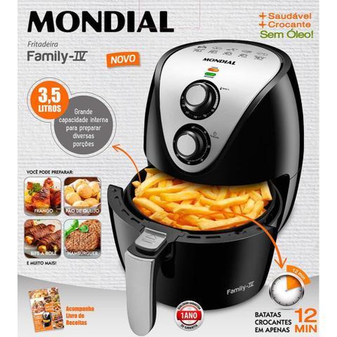 Imagem de Fritadeira Elétrica Sem Óleo Air Fryer Mondial Family IV AF-30 3,5 Litros 1500W