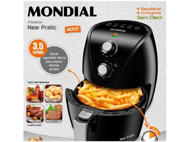 Imagem de Fritadeira Elétrica sem Óleo/Air Fryer Mondial - New Pratic AF-31 Preto 3,6L com Timer