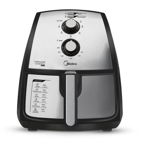Imagem de Fritadeira Sem Óleo Elétrica Midea Family Air Fryer Premium Inox 4 Litros