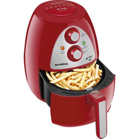 Imagem de Fritadeira sem Óleo Mondial com Timer Air Fryer Family Inox Vermelha 127V