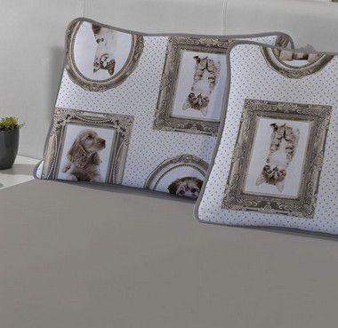 Imagem de Fronha avulsa 1 peça de Malha 100% algodão Infantil Pets Gato e Cachorro Edromania