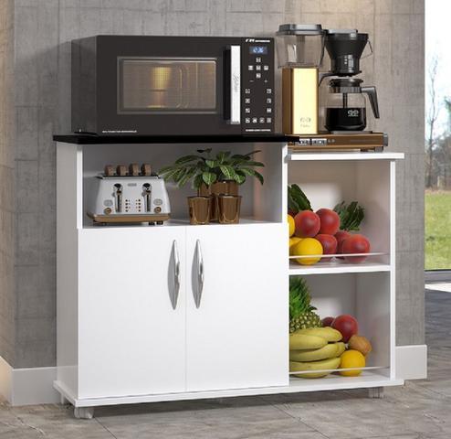 Imagem de Fruteira Balcão 2 Portas 2 Cestos Chão Cozinha Cor Branco C/ Preto