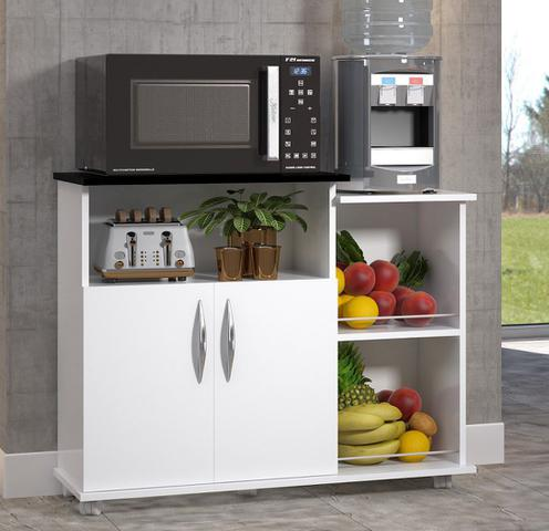 Imagem de Fruteira Balcão 2 Portas Móveis de Cozinha Multiuso Branco c/ Preto