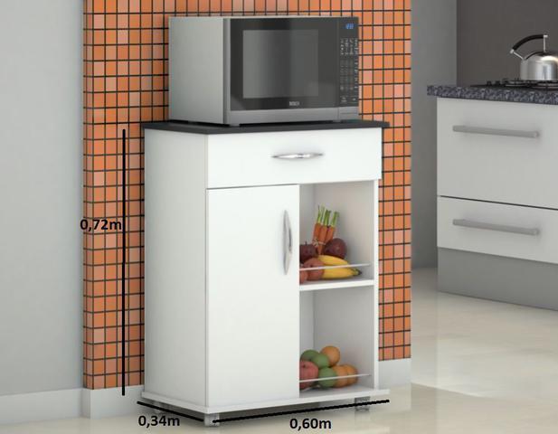 Imagem de Fruteira Chão Armário para colocar Microondas ou Galão Bebedouro Cozinha Com rodinhas, Uma porta