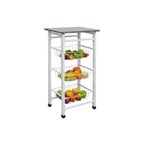 Imagem de Fruteira Chão Cozinha Aço Desmontável Granito Porta Frutas