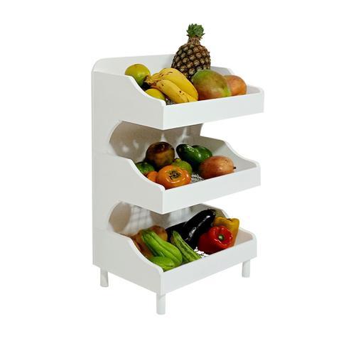 Imagem de Fruteira de Chão com Pé Porta Legumes para Cozinha em Madeira com 3 Prateleiras Branco Laca