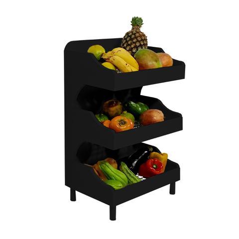 Imagem de Fruteira de Chão com Pé Porta Legumes para Cozinha em Madeira com 3 Prateleiras Preto Laca