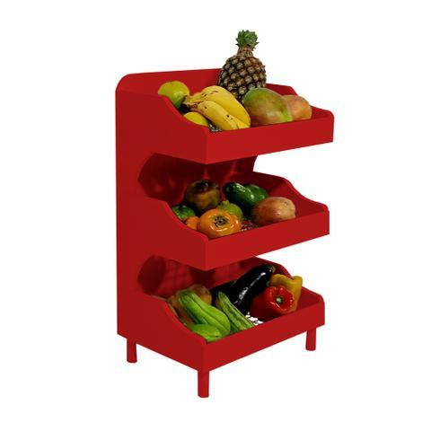 Imagem de Fruteira de Chão com Pé Porta Legumes para Cozinha em Madeira com 3 Prateleiras Vermelho Laca
