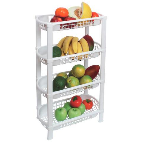 Imagem de Fruteira de Chão Organizador de Cozinha de Plástico Multiuso 4 Cestos FR-16