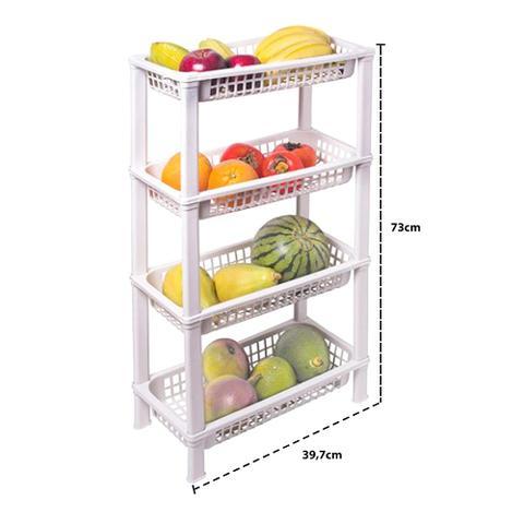 Imagem de Fruteira de Chão Organizador de Cozinha de Plástico Multiuso FR-05
