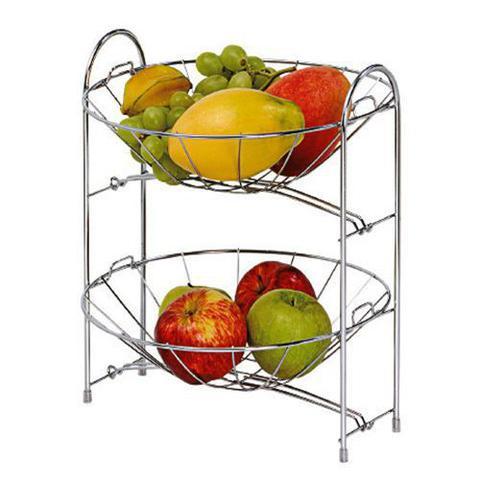 Imagem de Fruteira desmontavel dupla p/ mesa balcão redonda cromada