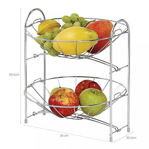 Imagem de Fruteira Dupla Desmontável em Aço Cromado Mesa Balcão Cozinha