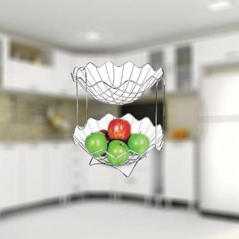 Imagem de Fruteira Dupla Mesa Bancada 2 Andares  Frutas Verduras N026 - Niquelart