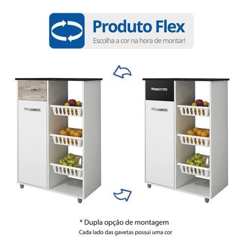 Imagem de Fruteira Multiuso 1 Porta 1 Gaveta Nova Croácia Flex Color CHF Branco/Champanhe/Preto