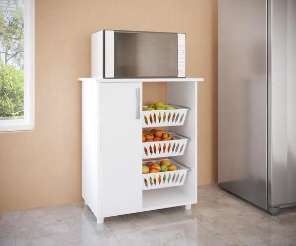 Imagem de Fruteira Multiuso com Porta Branco
