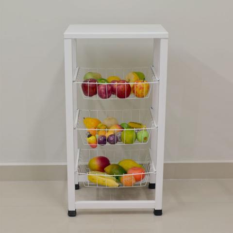 Imagem de Fruteira para Cozinha Aço Chão Retangular Max Forte Porta Frutas - Açomix