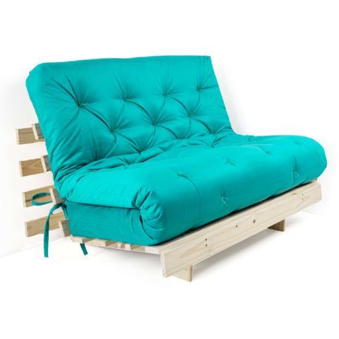 Imagem de Futon Casal Tokio Sofa Cama Azul Turquesa Com Madeira Maciça