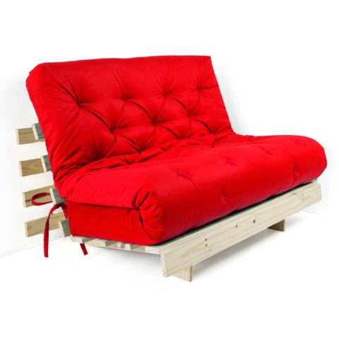Imagem de Futon Casal Tokio Sofa Cama Vermelho Com Madeira Maciça