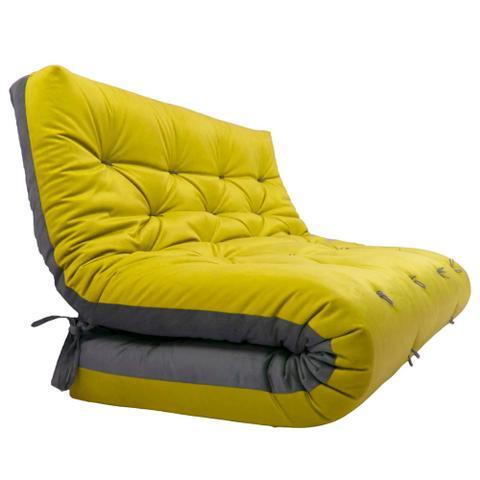 Imagem de Futon Japonês Casal Dobrável Sofa Cama Amarelo/Cinza