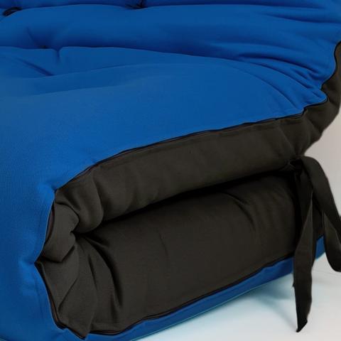 Imagem de Futon Japonês Casal Dobrável Sofa Cama Azul Royal/Preto
