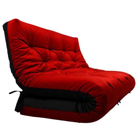 Imagem de Futon Japonês Casal Dobrável Sofa Cama Vermelho/Preto