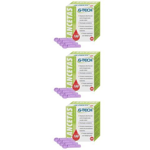 Imagem de G Tech Lancetas P/ Aparelho Medidor de Glicose C/100 (Kit C/03)