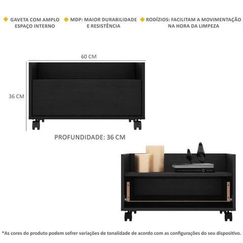 Imagem de Gabinete Armário Banheiro 60 cm c/ Rodízios Multimóveis Preto